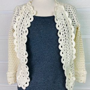 KNITTED & KNOTTED by ANTHRO Cream Crochet Cardigan
